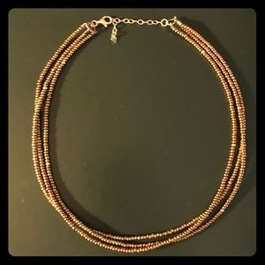 Silpada Triple-Strand Bronze Glass and SS Necklace